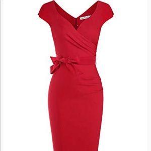 New MUXXN red belt dress v neck pencil skirt